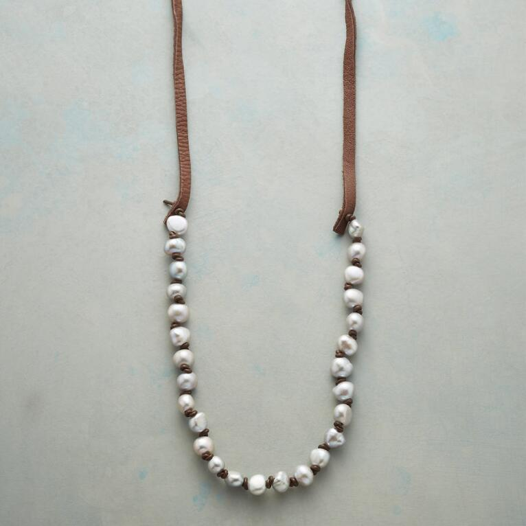 KNOTTED GRAY PEARL NECKLACE