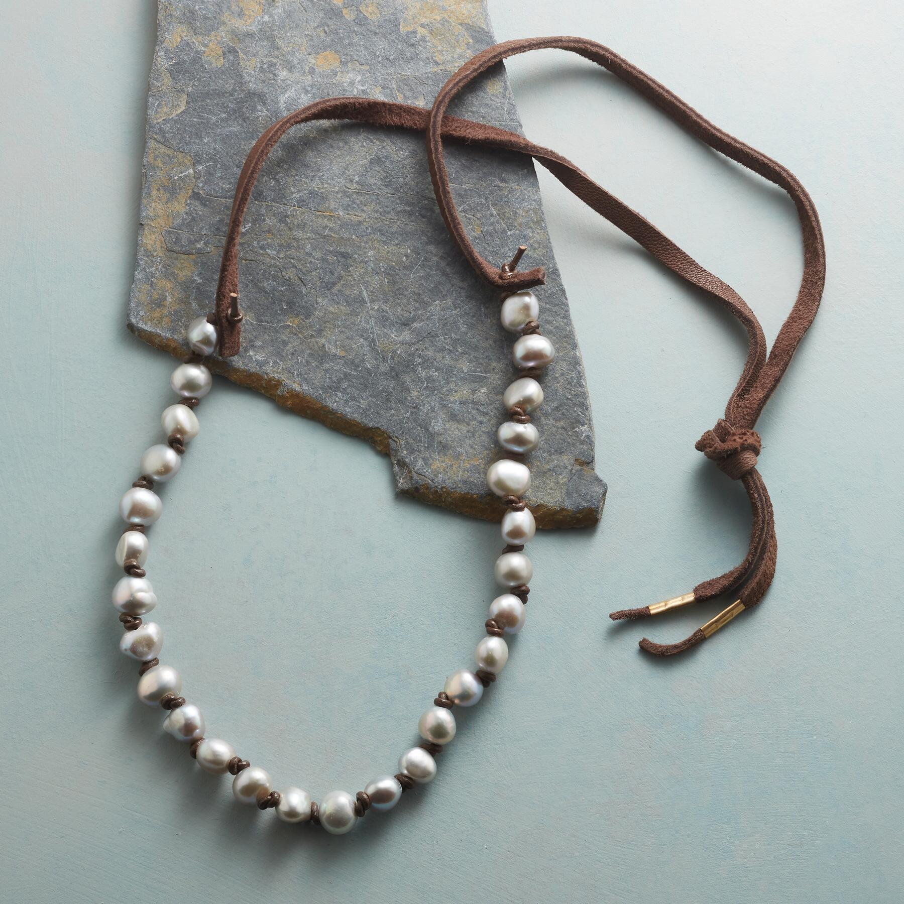 KNOTTED GRAY PEARL NECKLACE: View 2