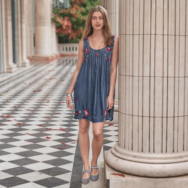 EMILIA VELVET PINTUCK DRESS