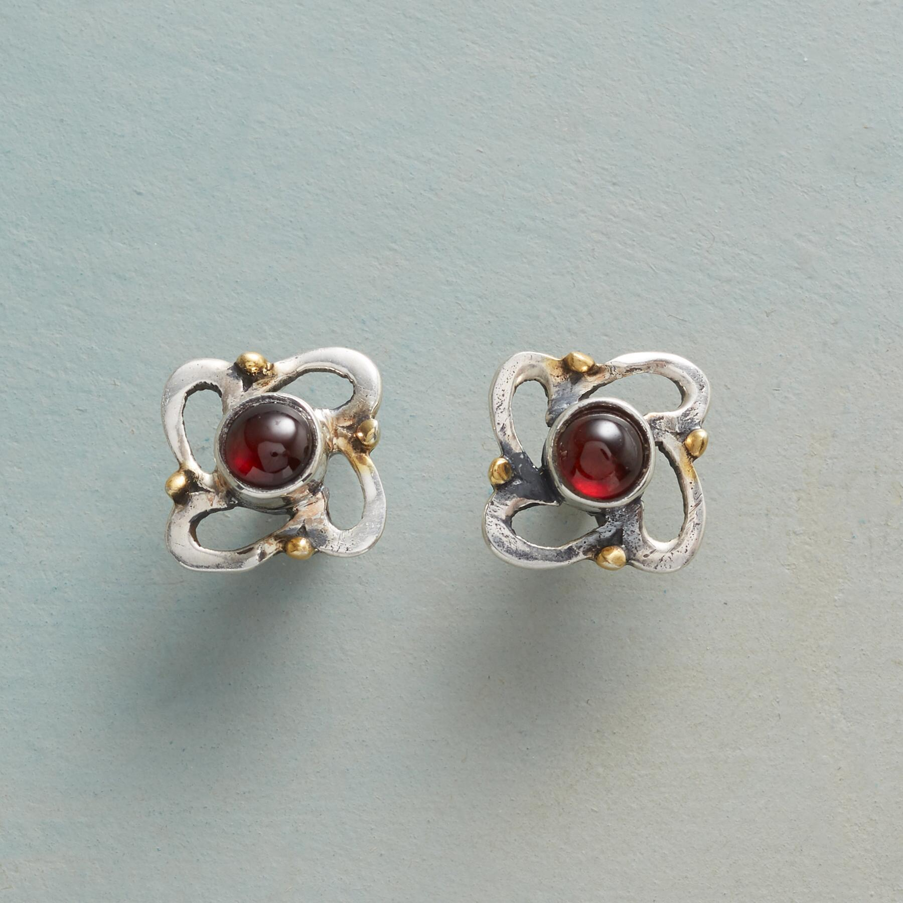 WHIRLWIND GARNET EARRINGS: View 1