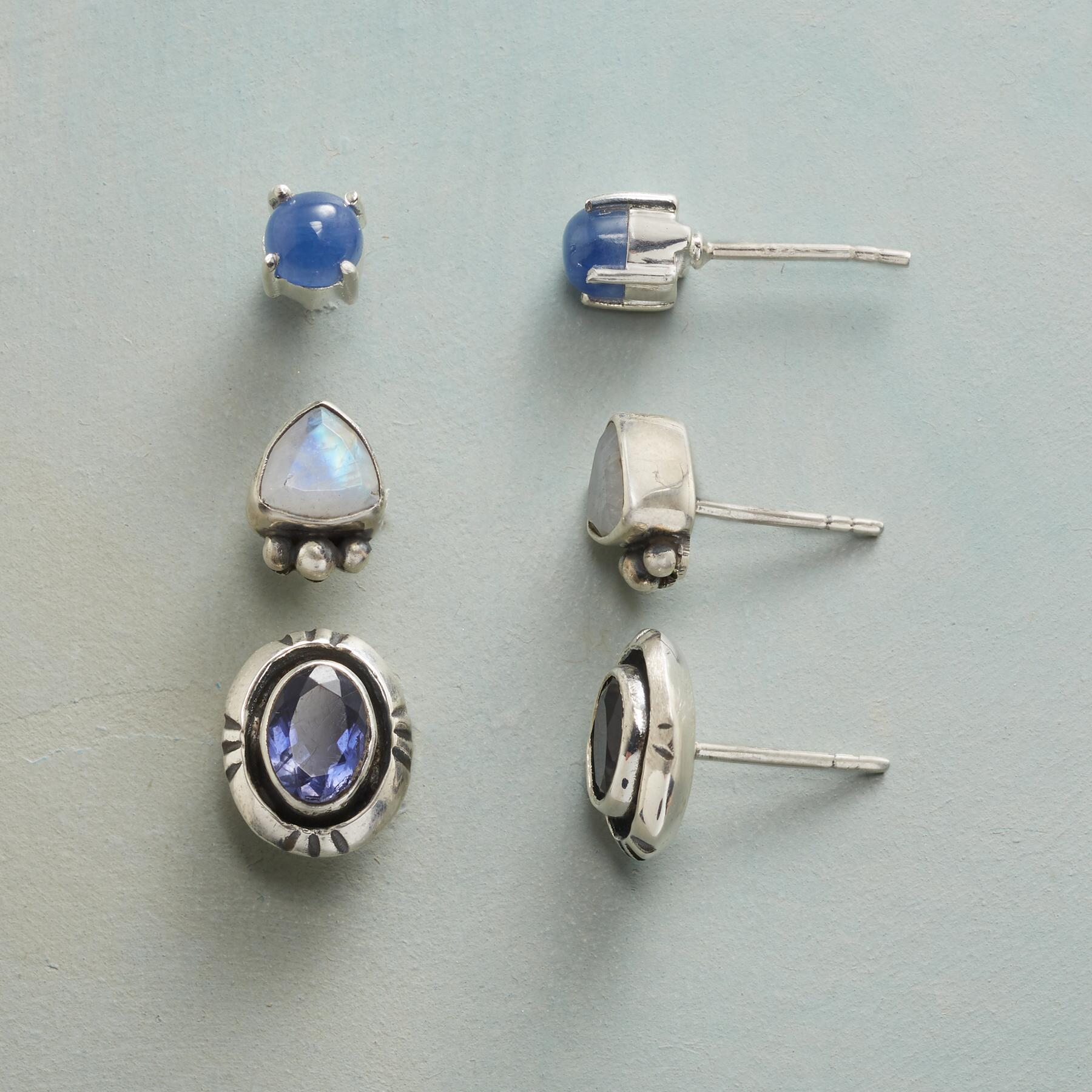 BLUES AND MOONSTONE EARRING TRIO: View 1