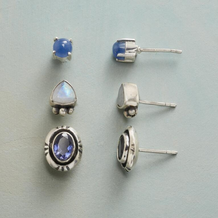 BLUES AND MOONSTONE EARRING TRIO