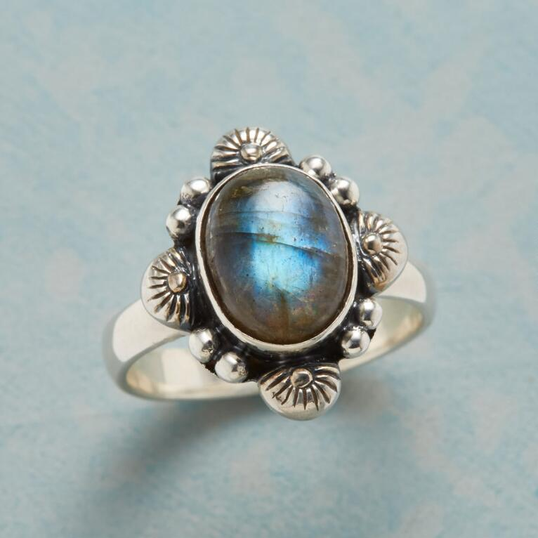 FOUR SUNS LABRADORITE RING
