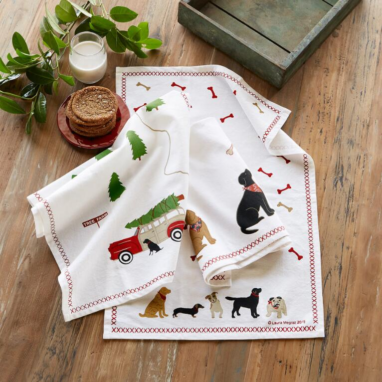 DOG DAYS TEA TOWELS, SET OF 3