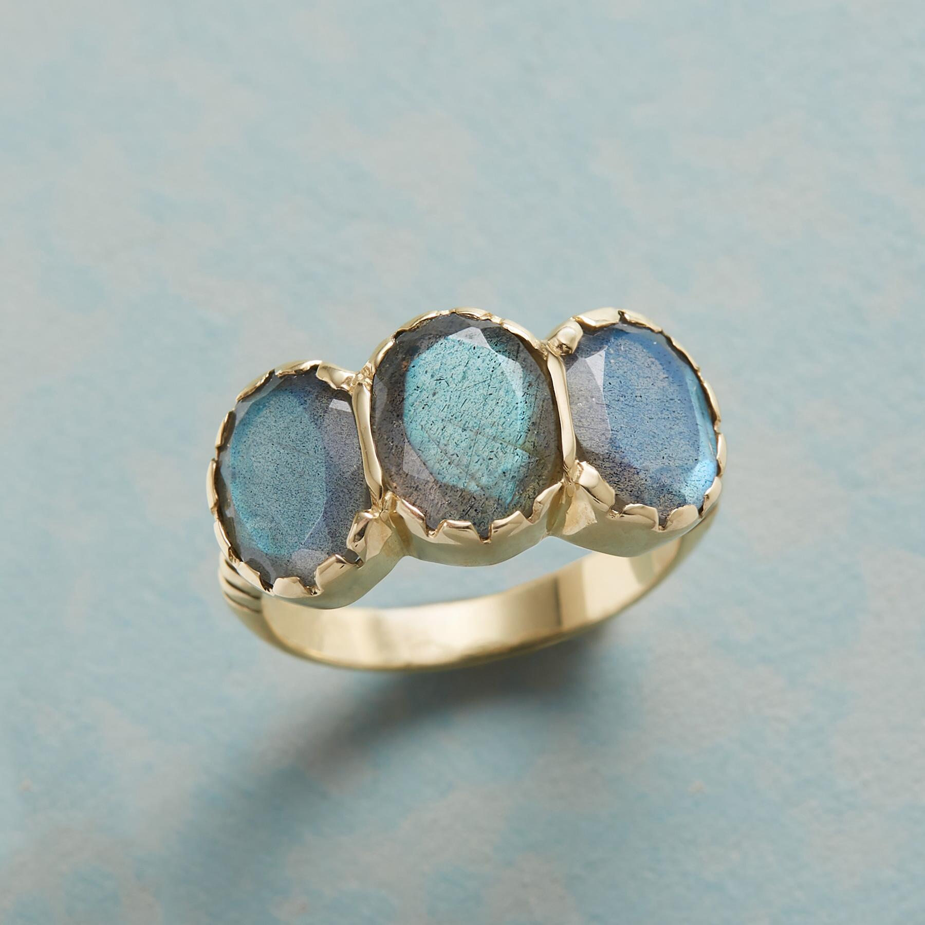 LABRADORITE TRIAD RING: View 1