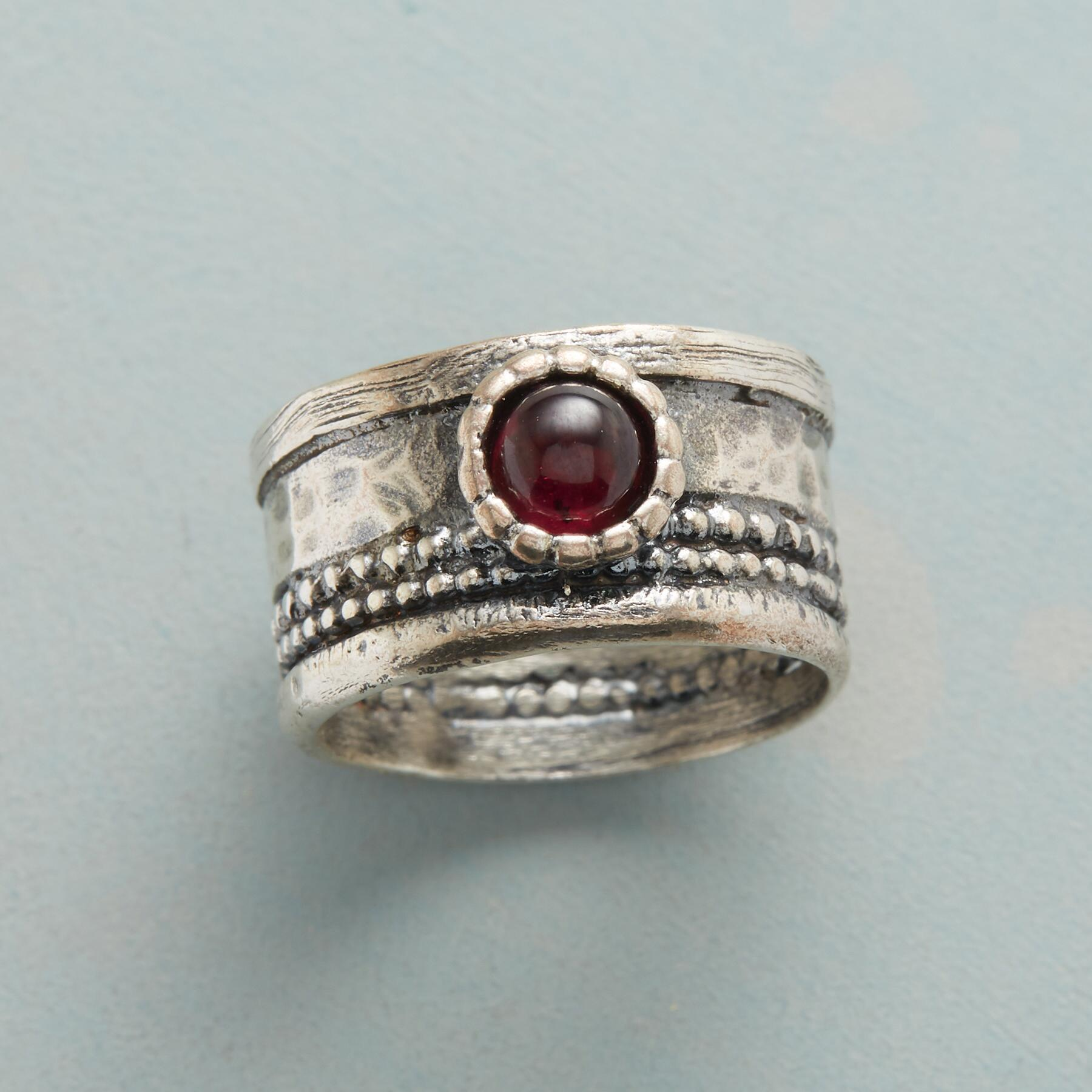 CROWNED GARNET RING: View 1