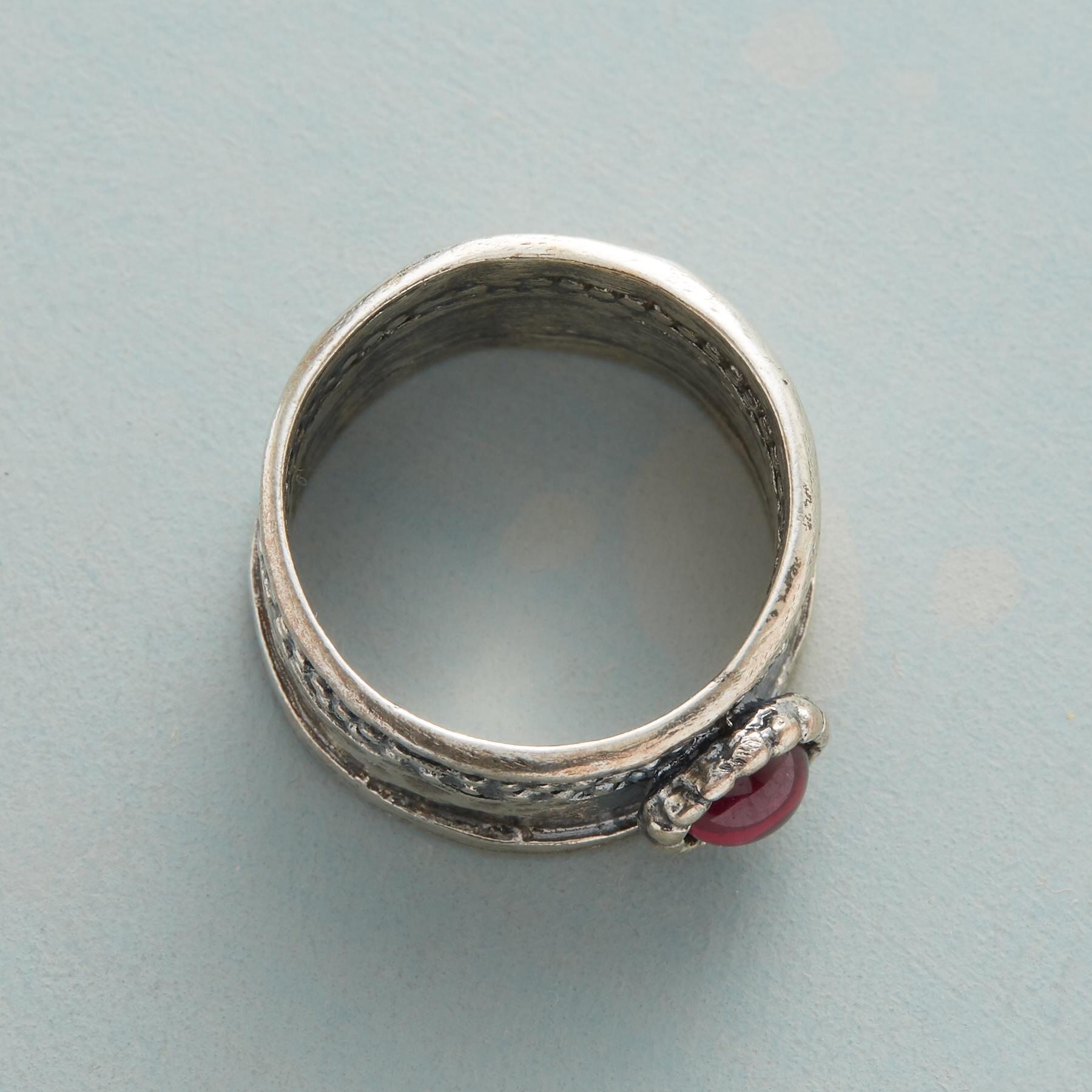CROWNED GARNET RING: View 2