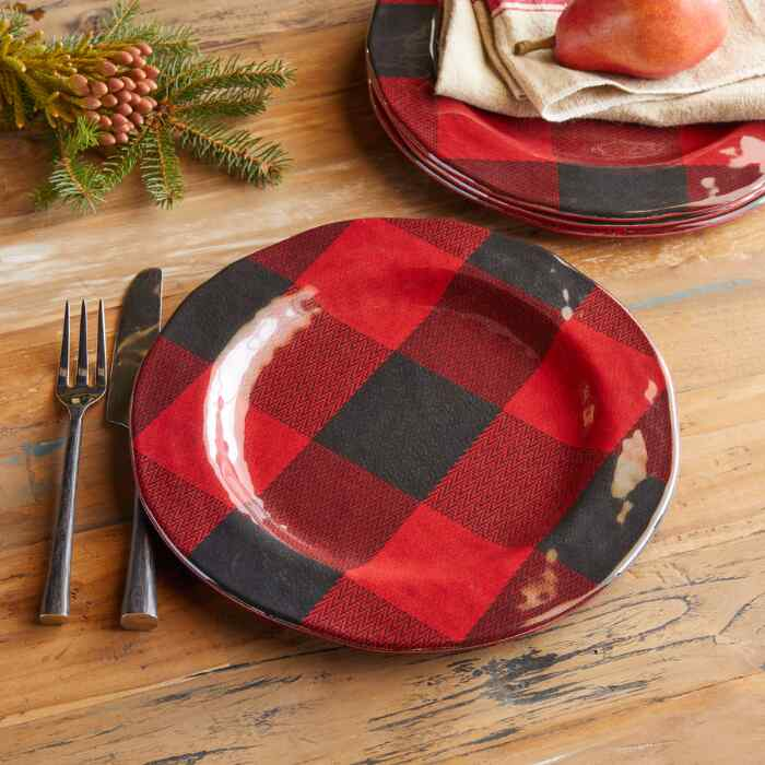 BUFFALO CHECK MELAMINE DINNER PLATES S/4