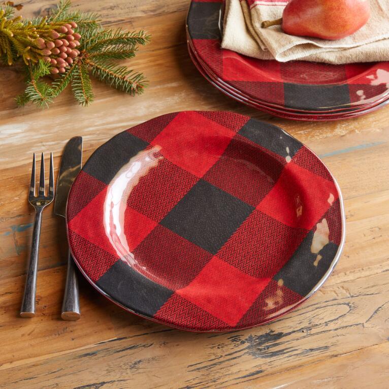 BUFFALO CHECK MELAMINE DINNER PLATES, SET OF 4