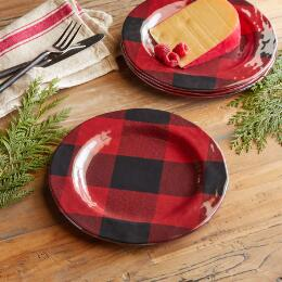 BUFFALO CHECK MELAMINE SALAD PLATES, SET OF 4