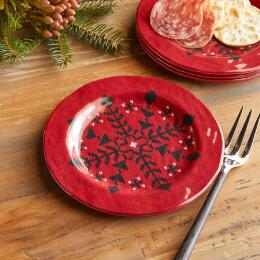 BUFFALO CHECK MELAMINE APPETIZER PLATES, SET OF 4