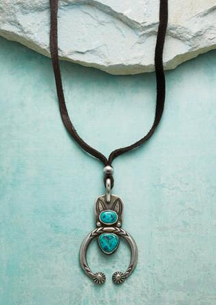 DOUBLE TURQUOISE NAJA NECKLACE