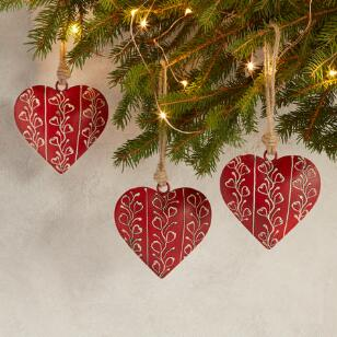 ALPENHAUS HEART ORNAMENTS, SET OF 3