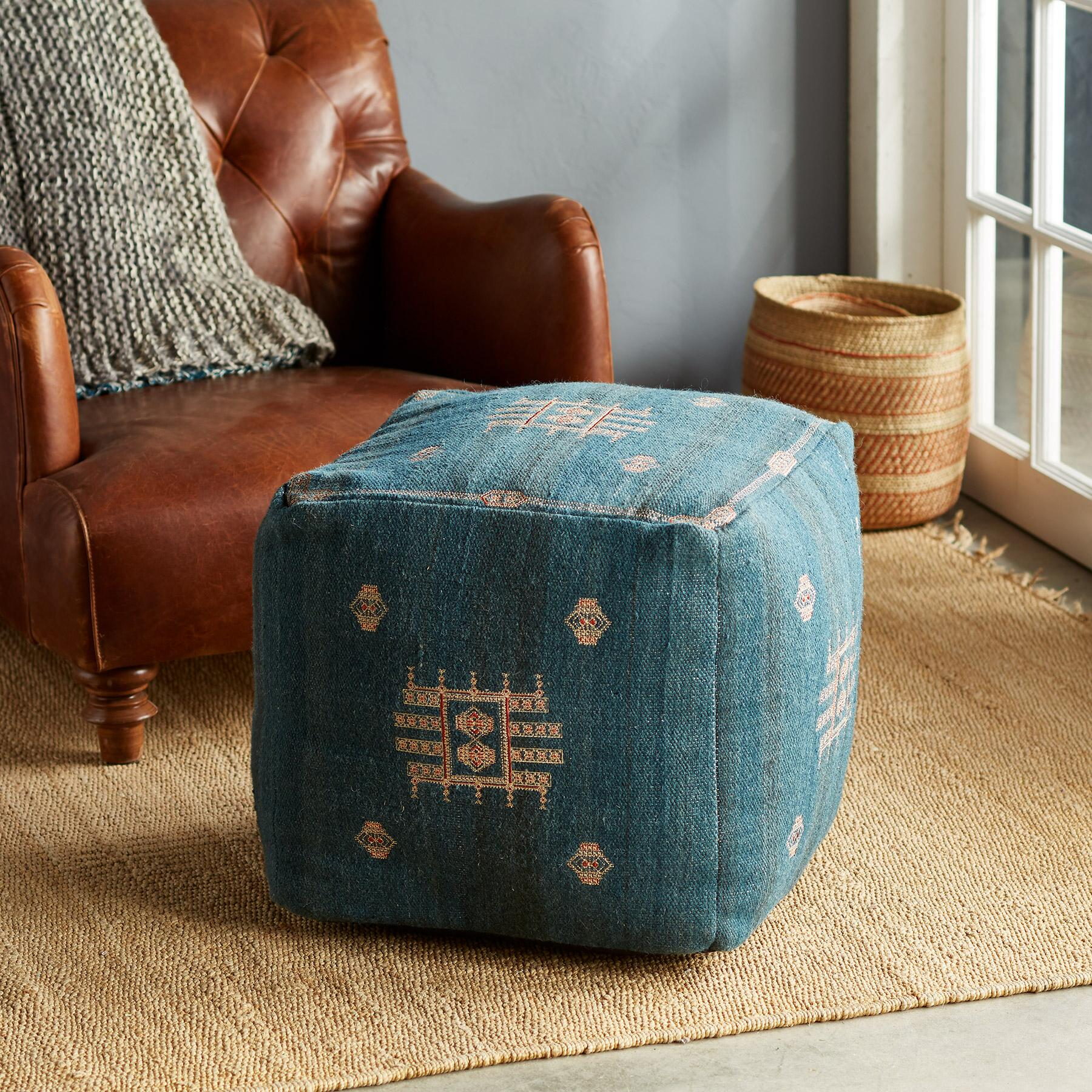 SUNSET RIDGE BLUE POUF: View 1