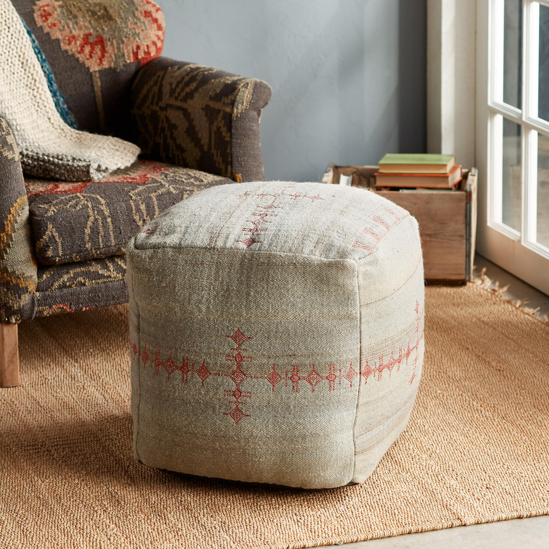 SUNSET RIDGE GRAY POUF: View 1