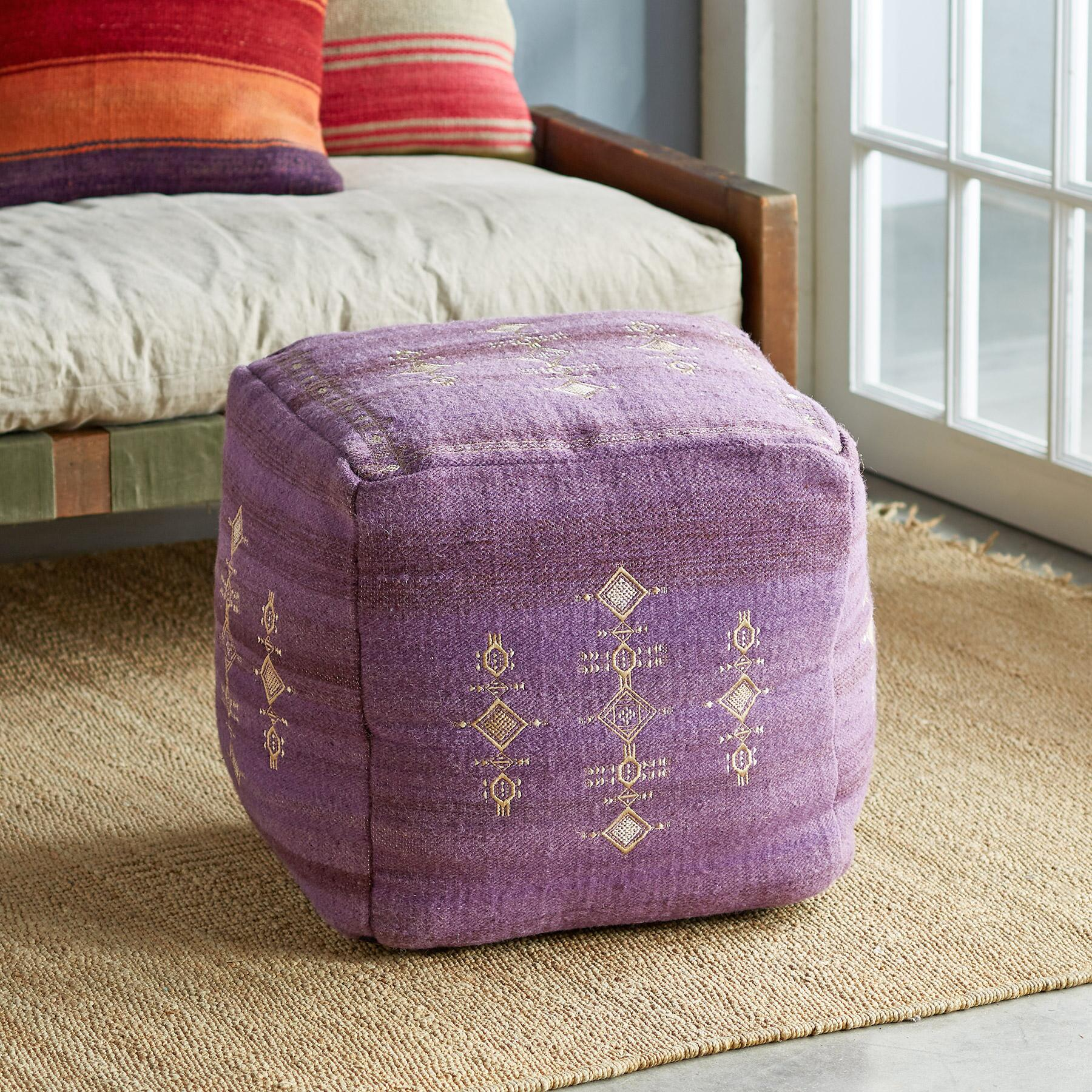 SUNSET RIDGE PURPLE POUF: View 1