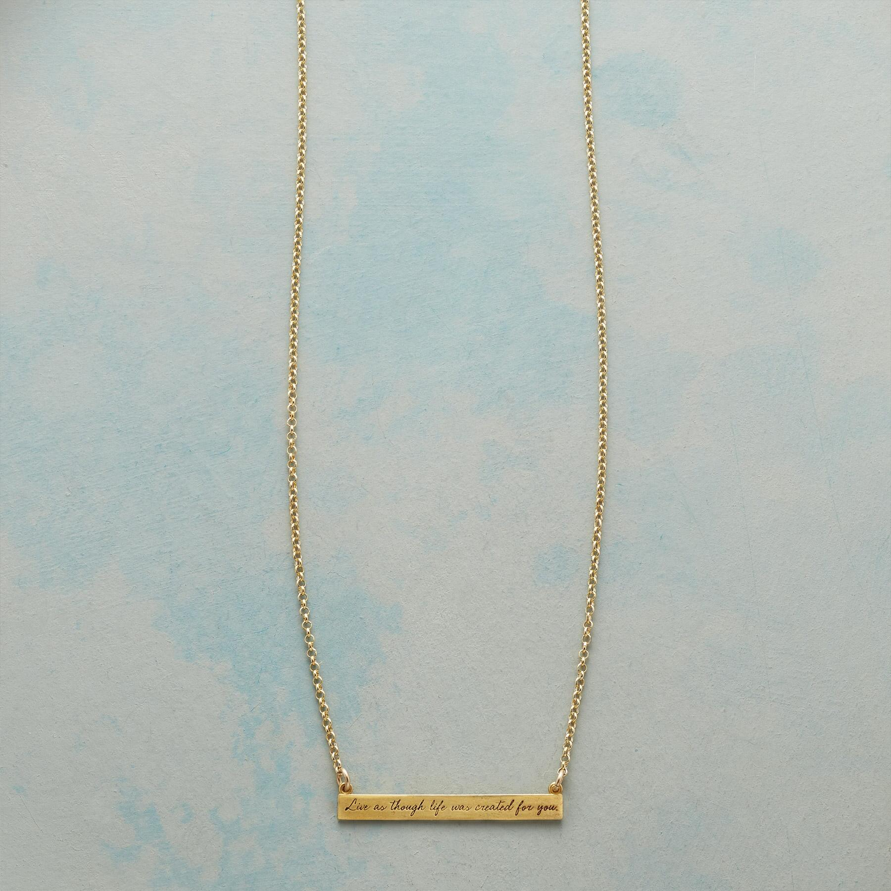 MAYA ANGELOU GOLD LIVE LIFE NECKLACE: View 1
