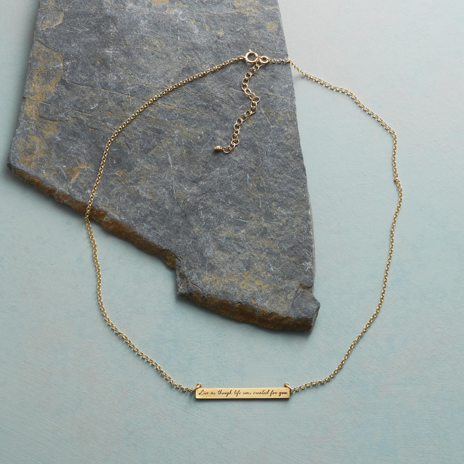 MAYA ANGELOU GOLD LIVE LIFE NECKLACE: View 2