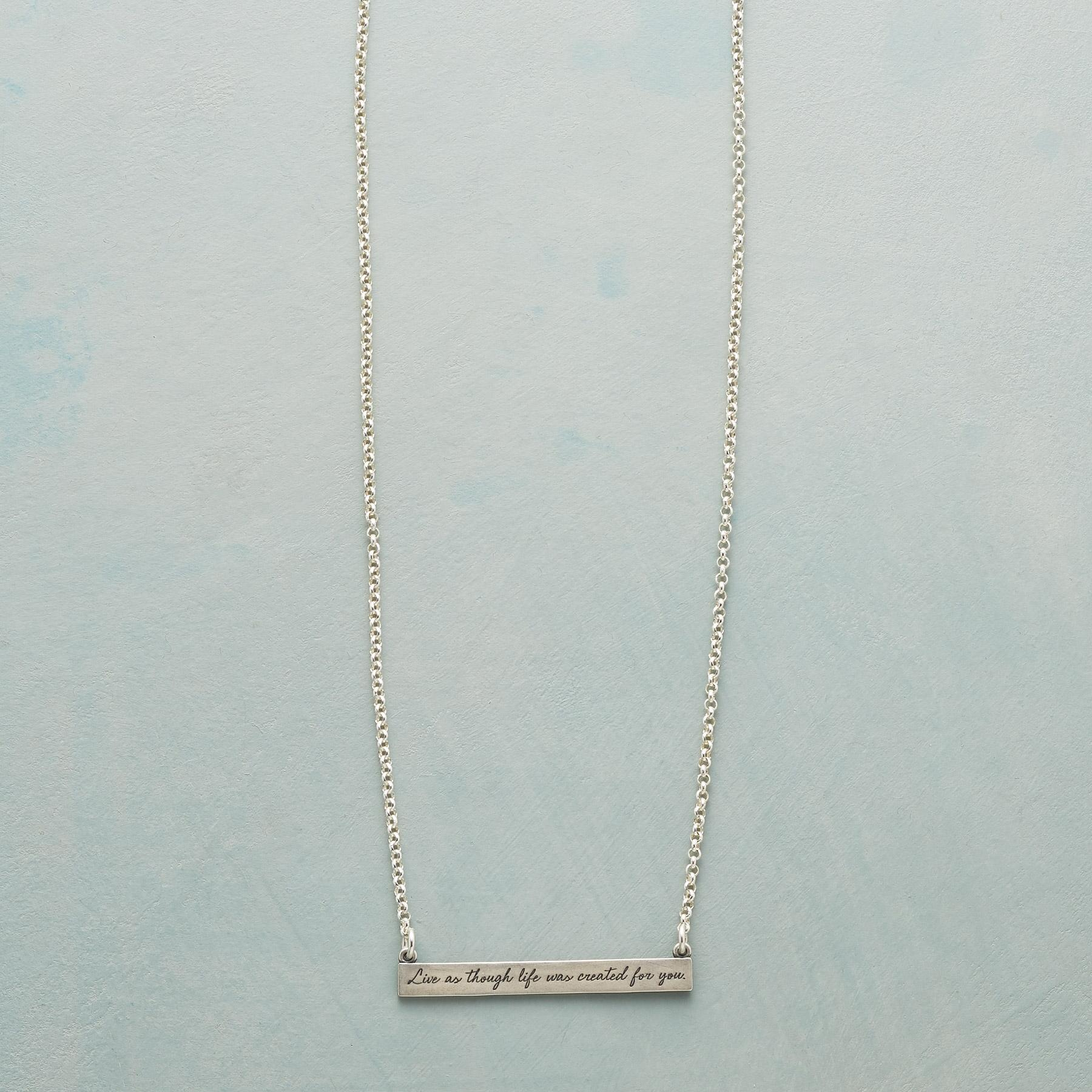 MAYA ANGELOU SILVER LIVE LIFE NECKLACE: View 1