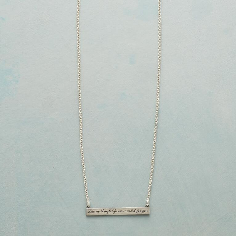 MAYA ANGELOU SILVER LIVE LIFE NECKLACE