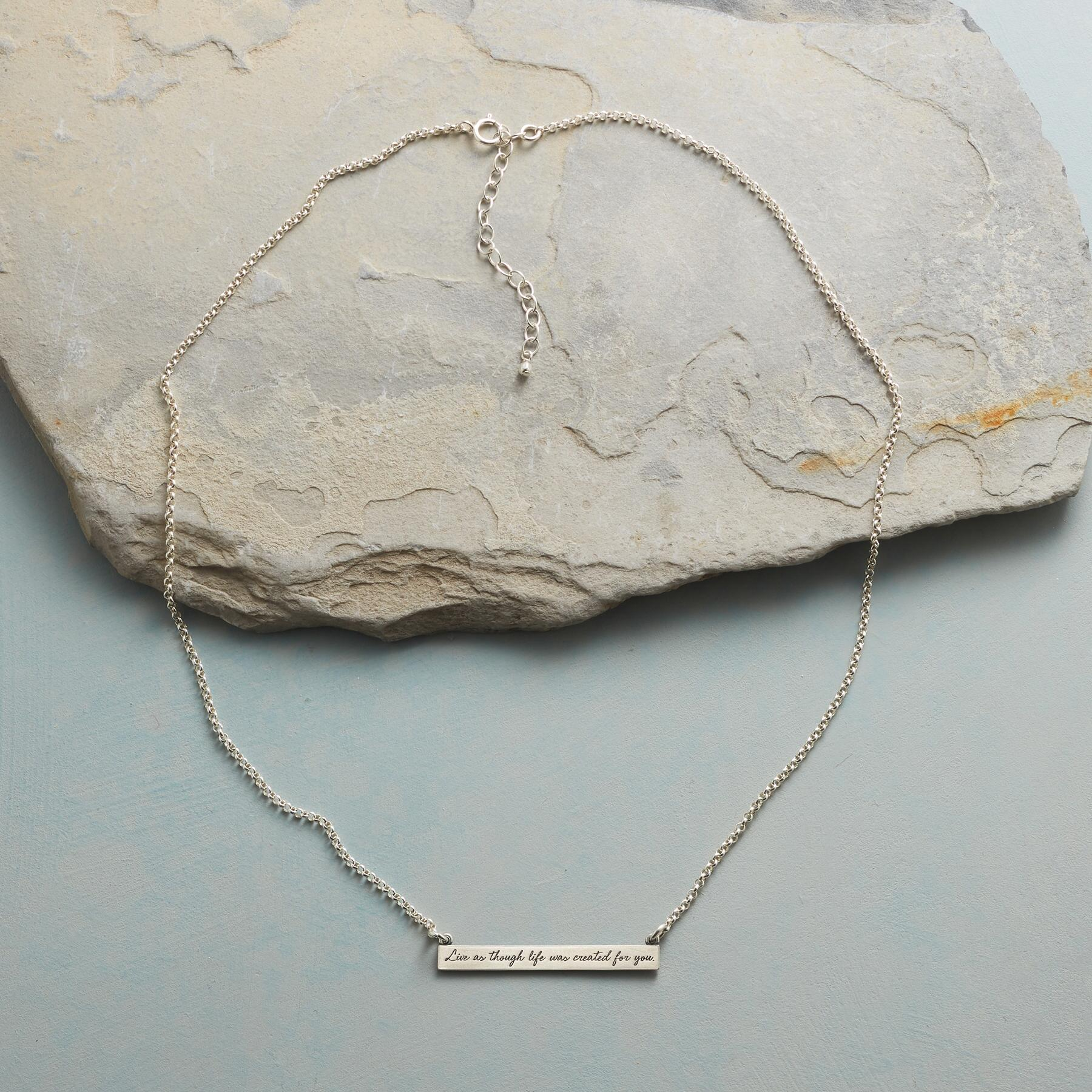MAYA ANGELOU SILVER LIVE LIFE NECKLACE: View 2