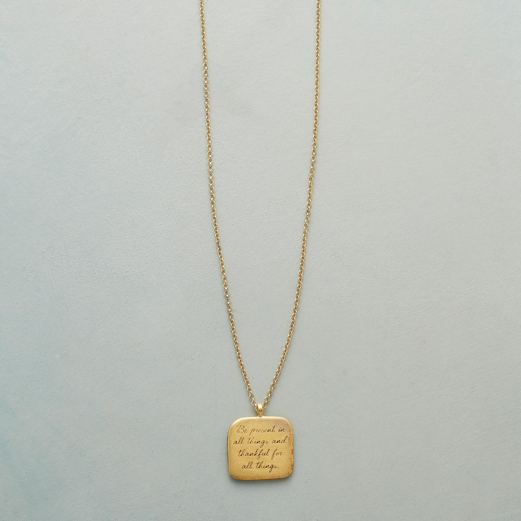 MAYA ANGELOU GOLD BE PRESENT NECKLACE: View 1
