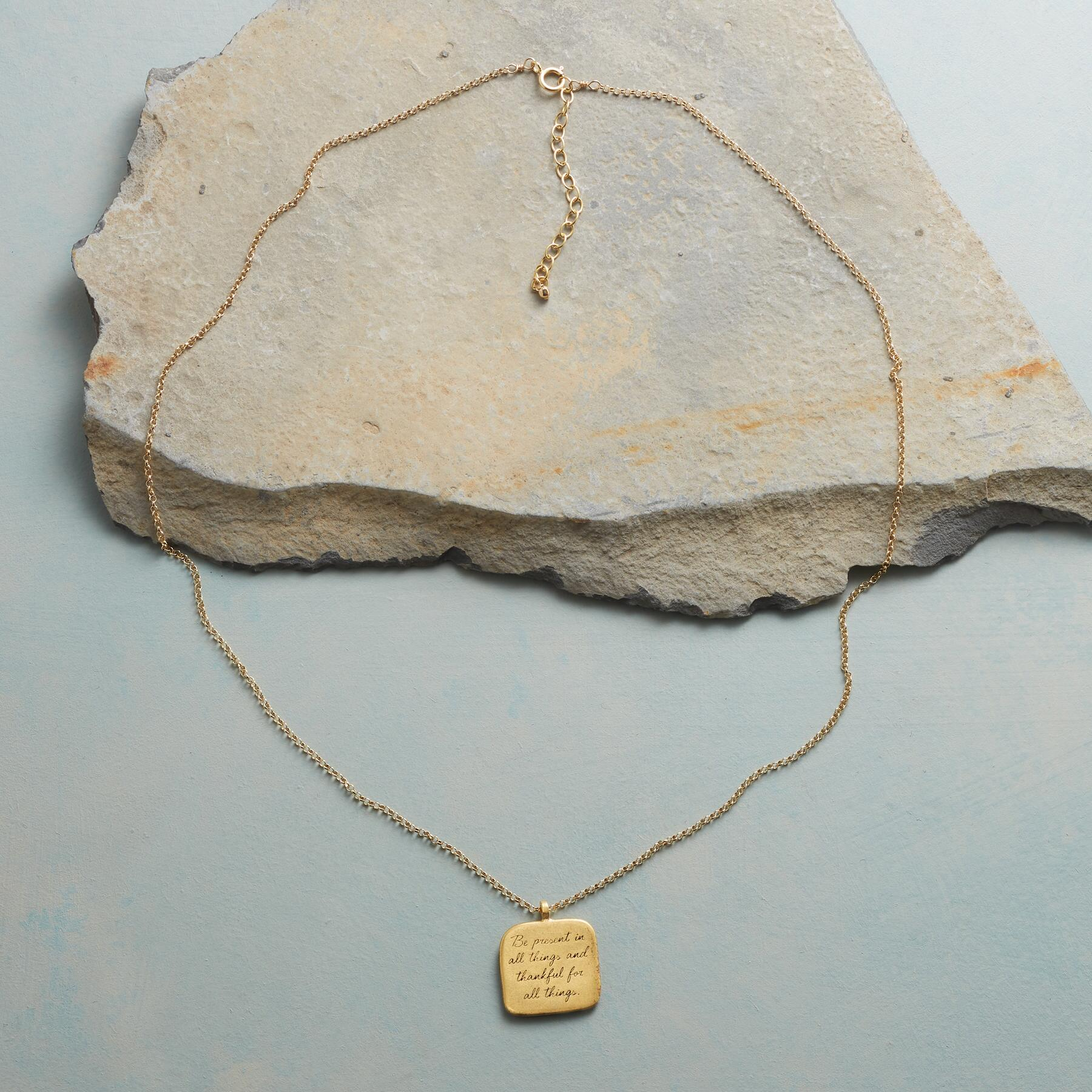 MAYA ANGELOU GOLD BE PRESENT NECKLACE: View 2