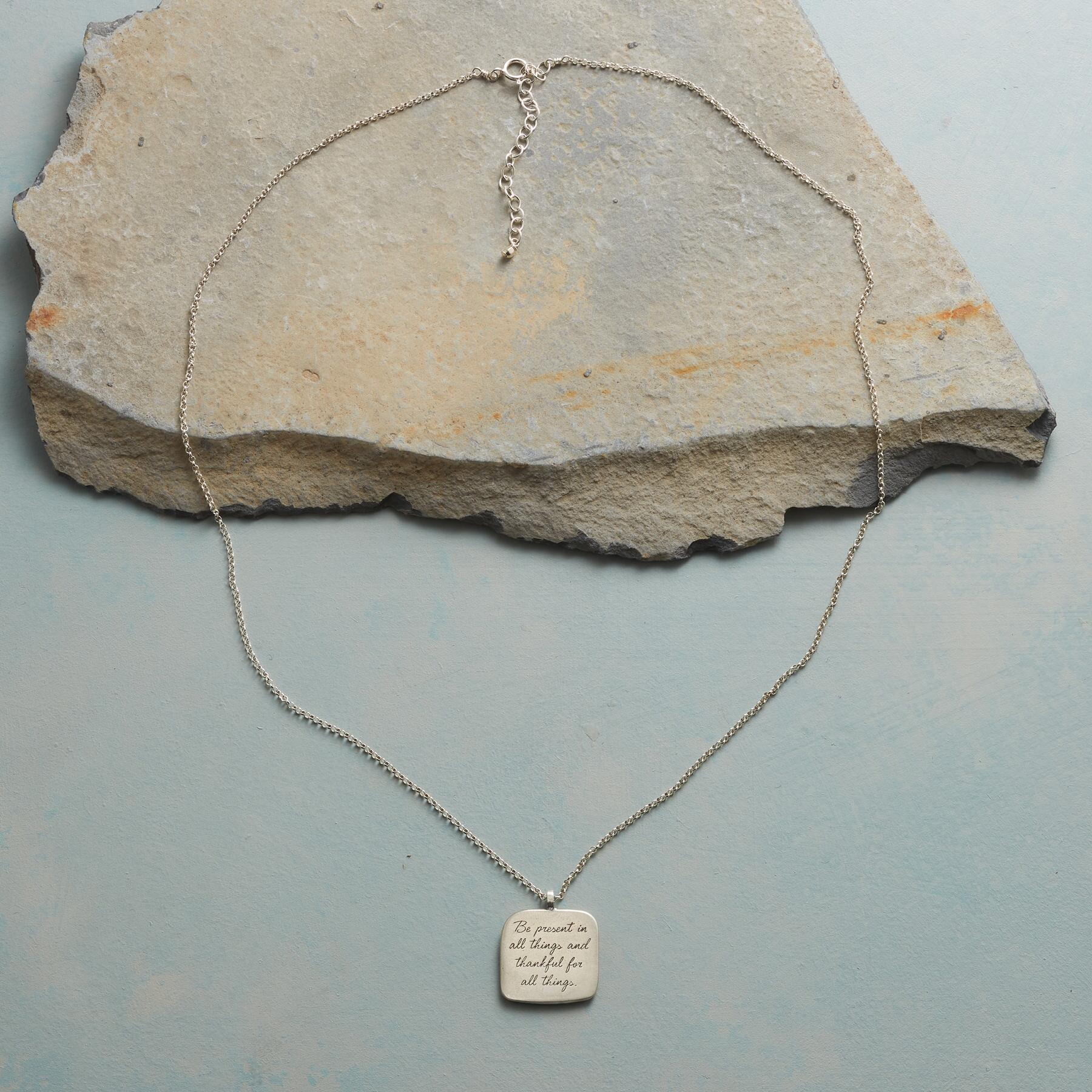 MAYA ANGELOU SILVER BE PRESENT NECKLACE: View 2