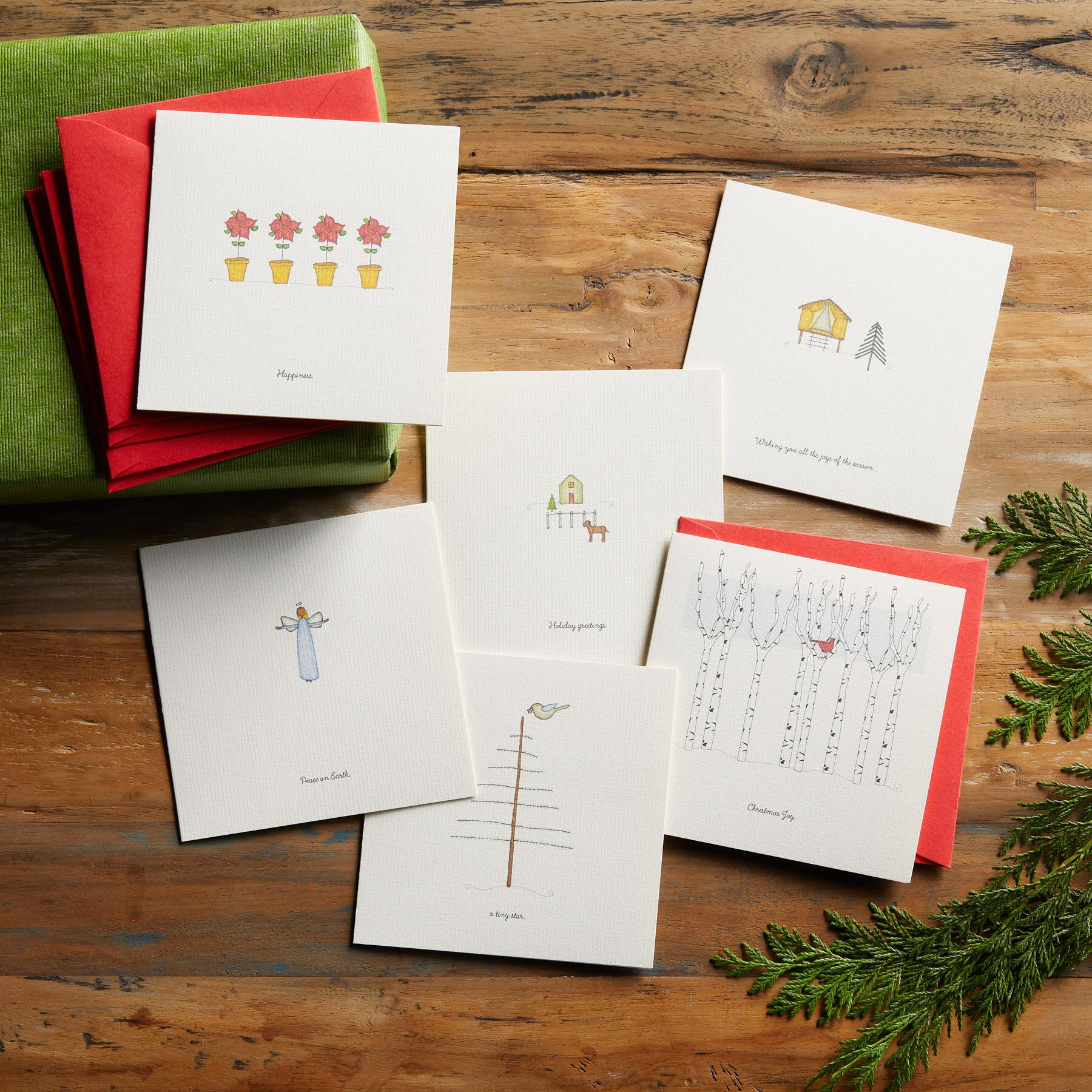 VIGNETTES CHRISTMAS JOY CARDS, SET OF 6: View 2