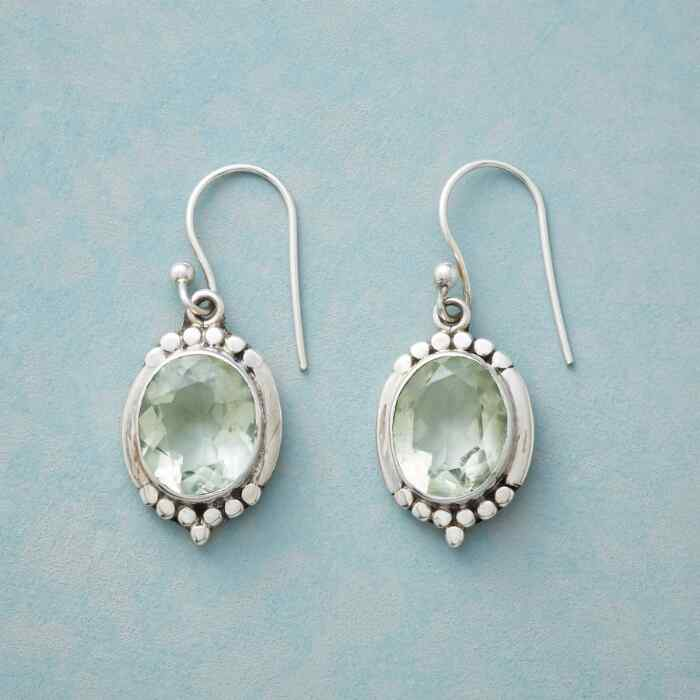 FRAMED GREEN AMETHYST EARRINGS