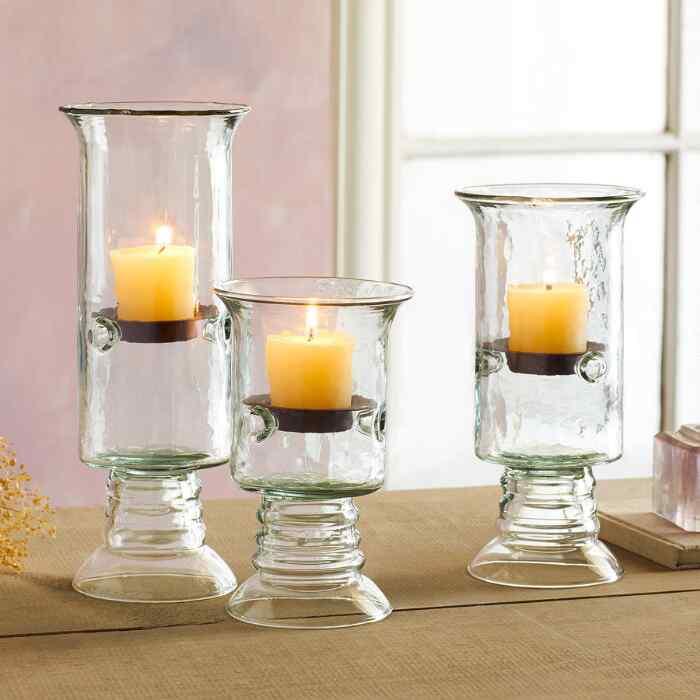 BLOWN GLASS TABLETOP PILLAR HURRICANES, SET OF 3