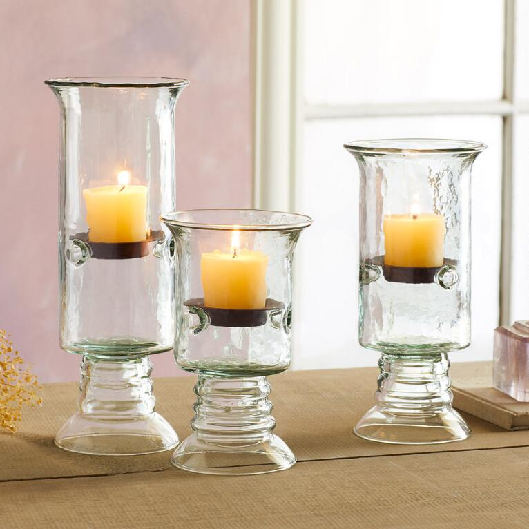 BLOWN GLASS TABLETOP PILLAR HURRICANES, SET OF 3