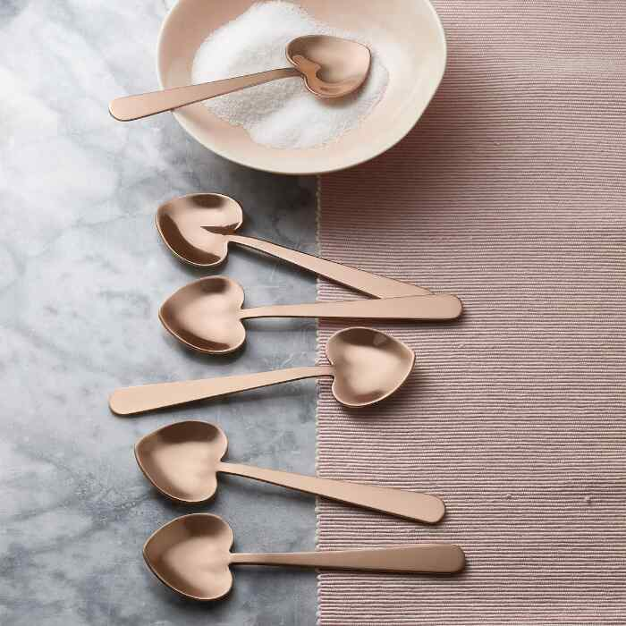 HEART-SHAPED COPPER SPOONS, SET OF 6