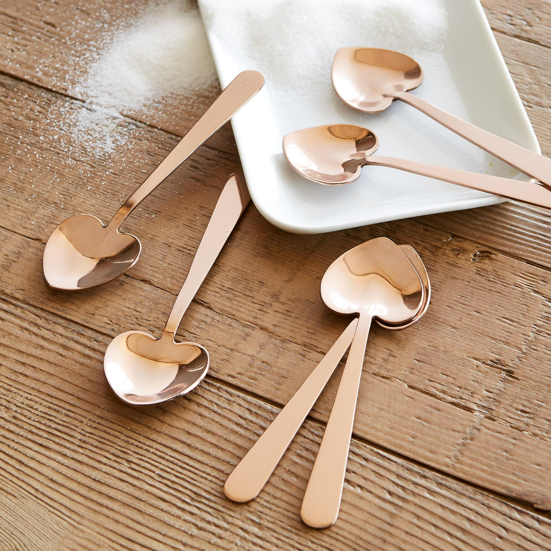 HEART-SHAPED COPPER SPOONS, SET OF 6: View 2