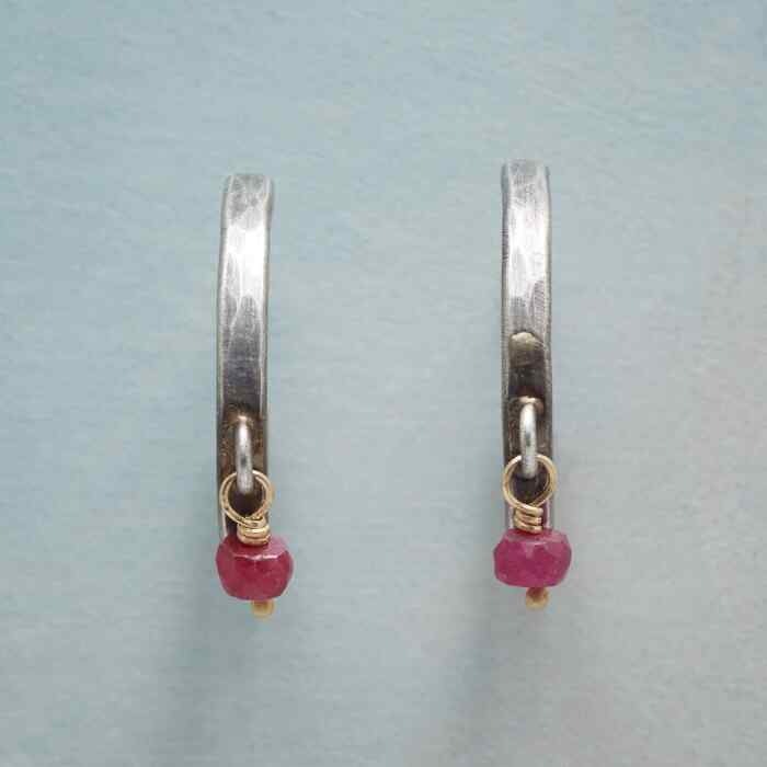 RUBY DROP HOOPS