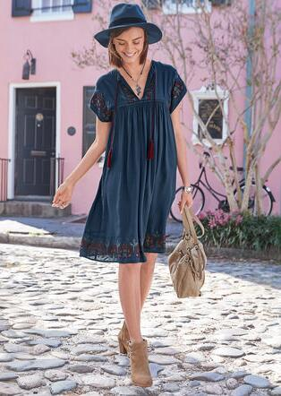 EMBROIDERED DAY DRESS
