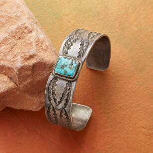 1920S BLUE GEM TURQUOISE CUFF