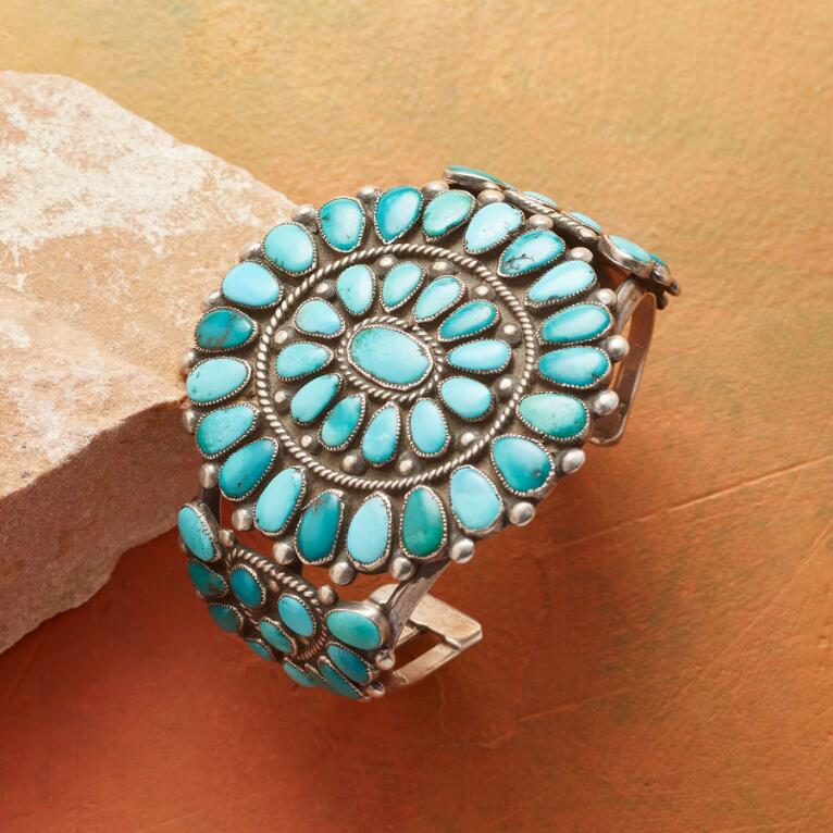 1940S MORENCI TURQUOISE CLUSTER CUFF