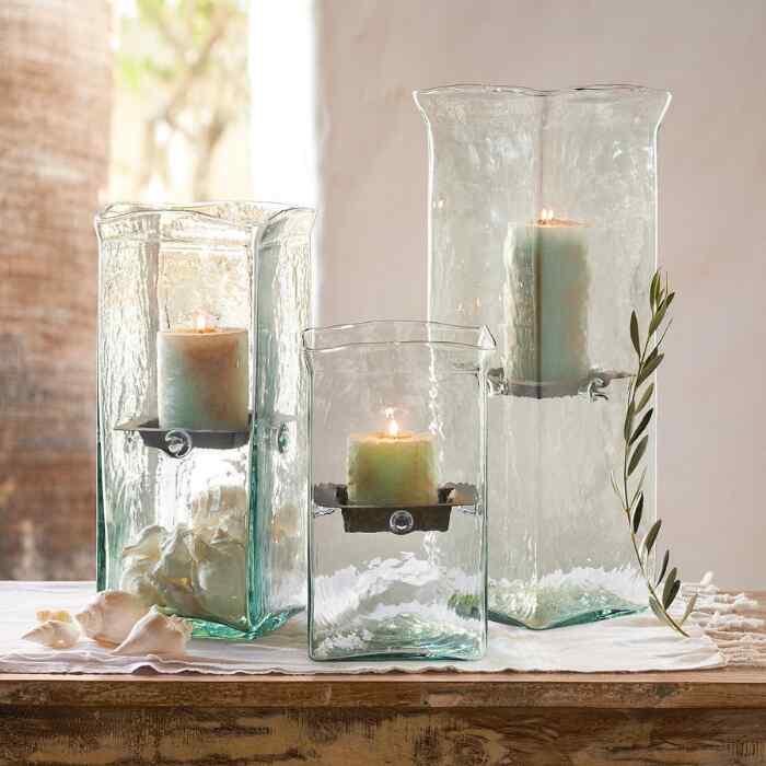 BLOWN GLASS SQUARE HURRICANE