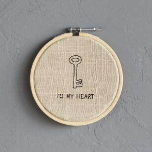 KEY TO MY HEART CROSS-STITCH EMBROIDERY HOOP