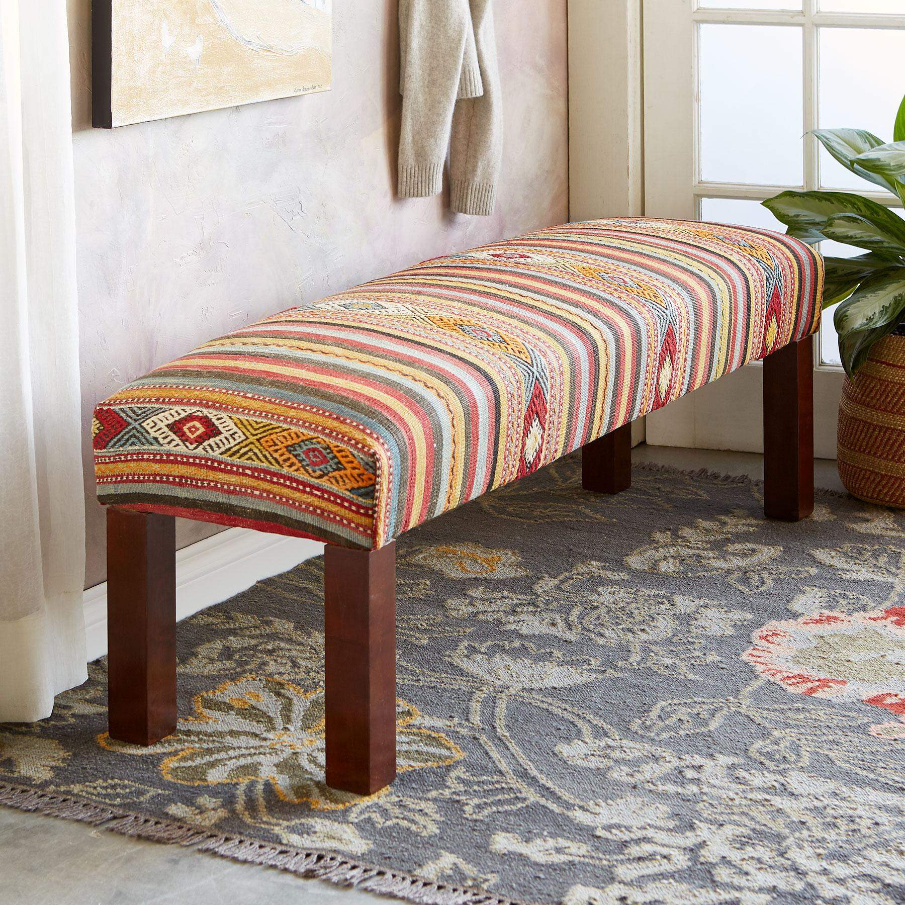 FERAY TURKISH KILIM BENCH: View 1