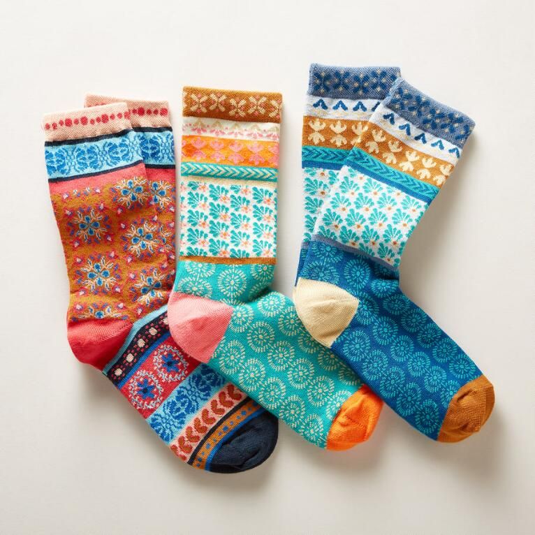 ISLA FLORA SOCKS, SET OF 3