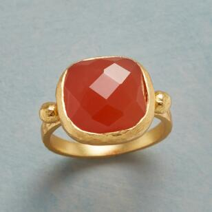 CHECKED CARNELIAN RING