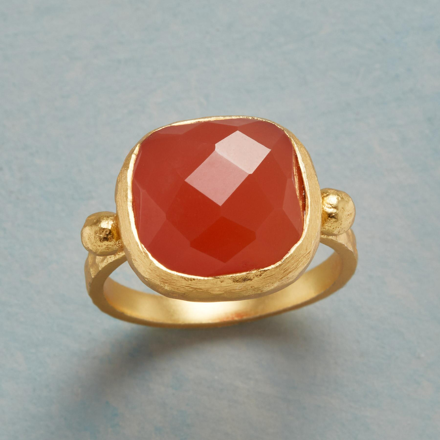 CHECKED CARNELIAN RING: View 1
