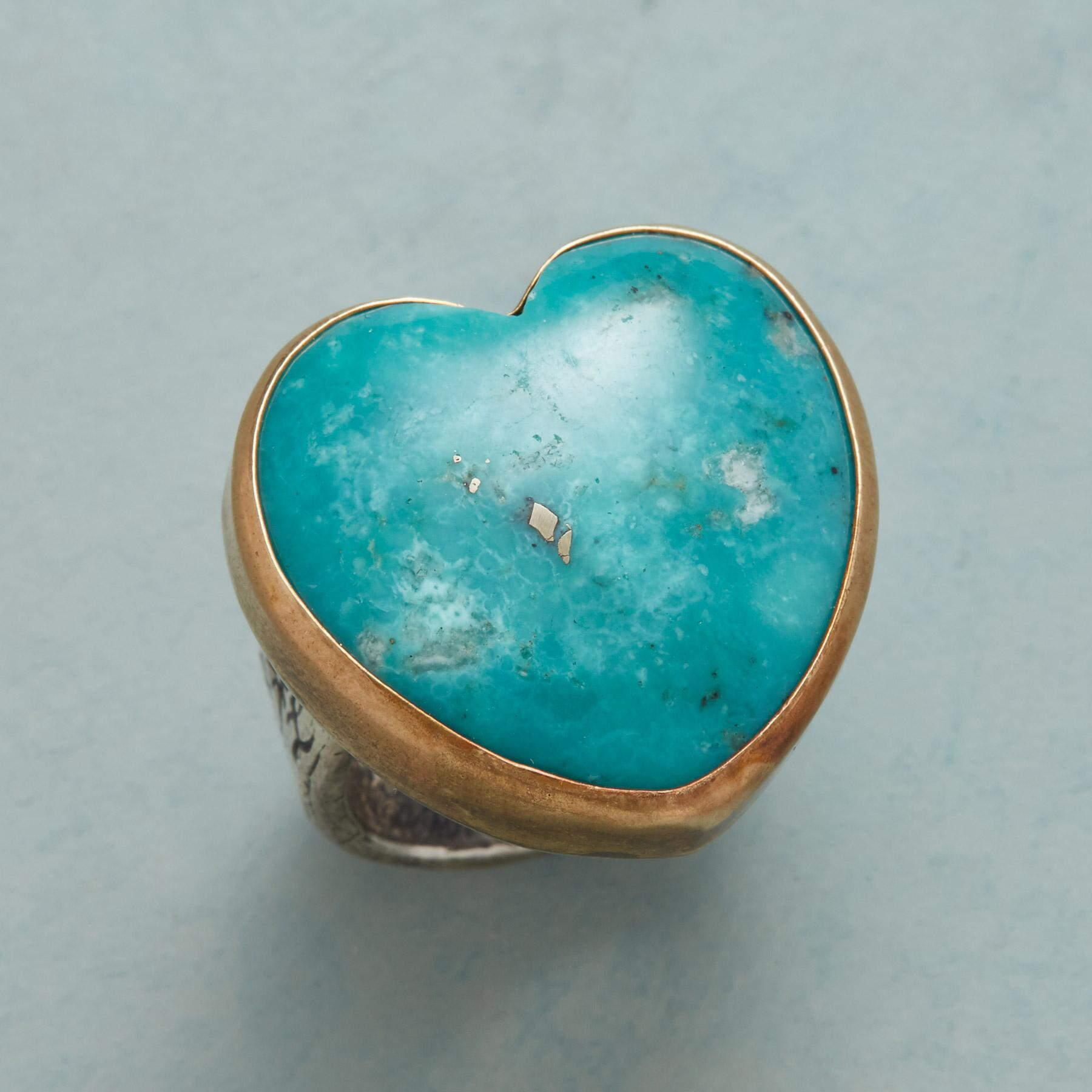 TURQUOISE HEARTBEAT RING: View 1