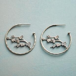 SAKURA BRANCH HOOP EARRINGS