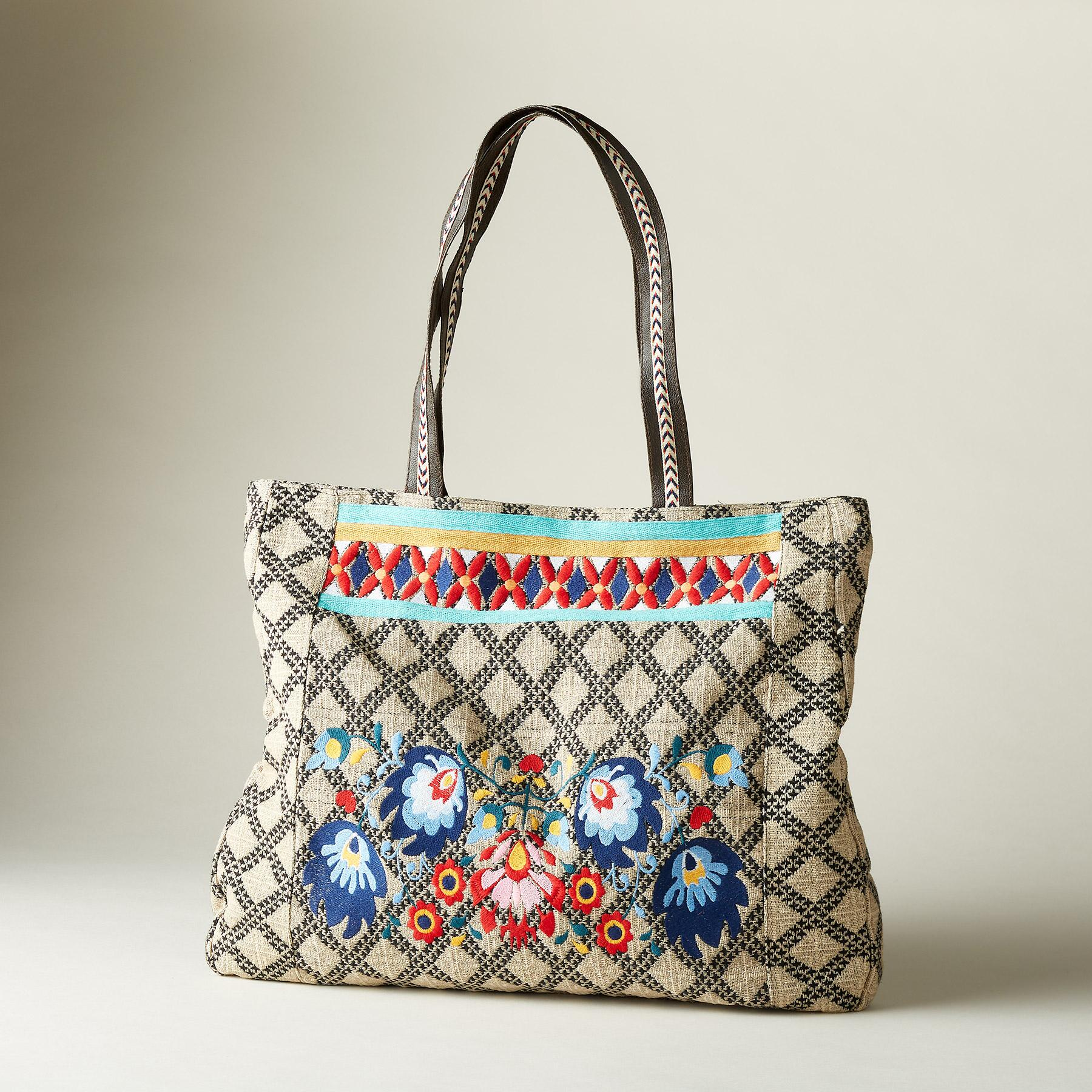 FREE-SPIRITED FLORAL TOTE: View 1