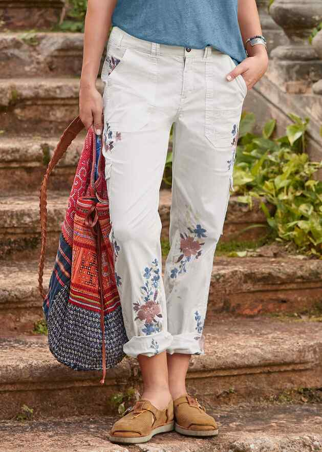 BLOOM EMBROIDERED CARGO PANTS - PETITES
