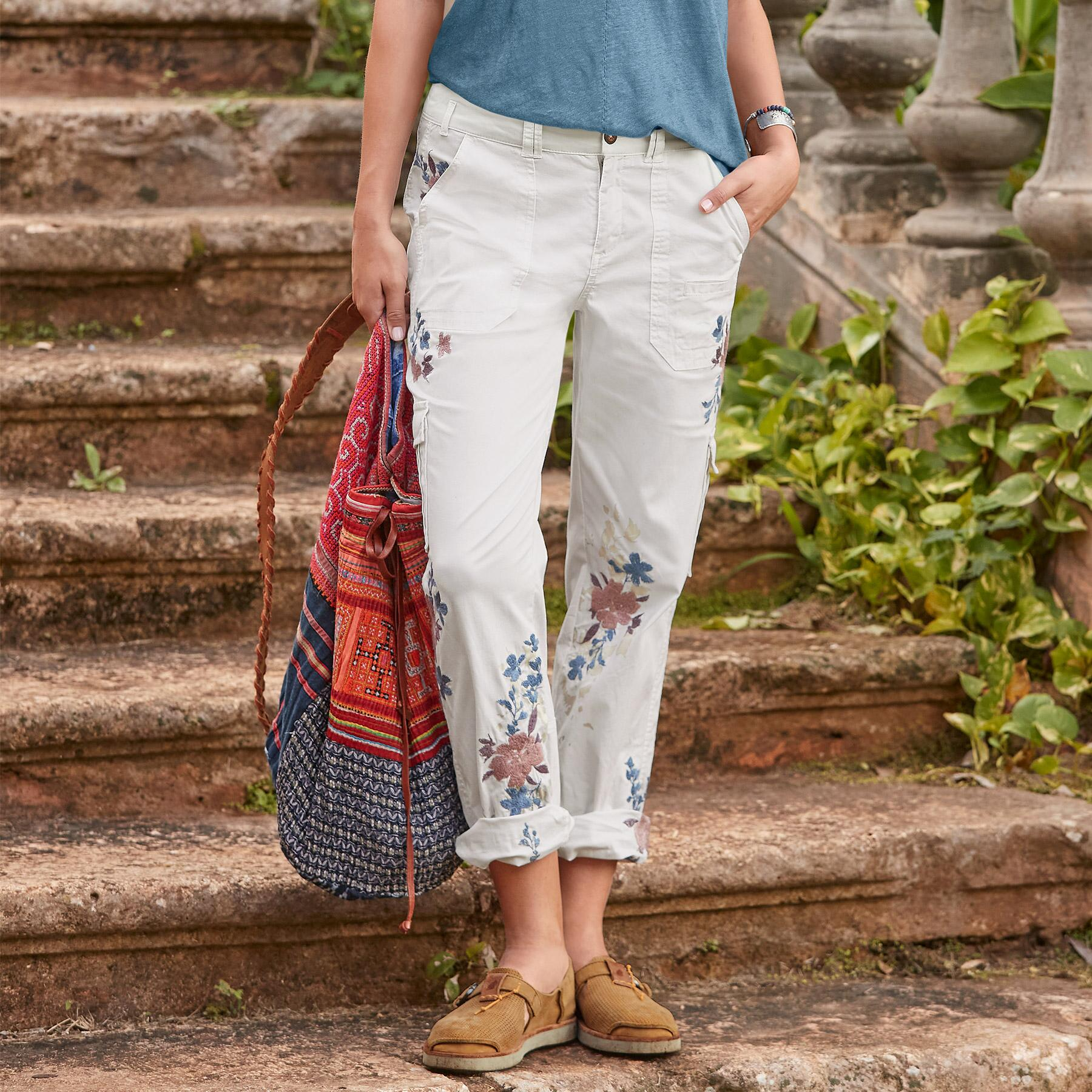 BLOOM EMBROIDERED CARGO PANTS - PETITES: View 1