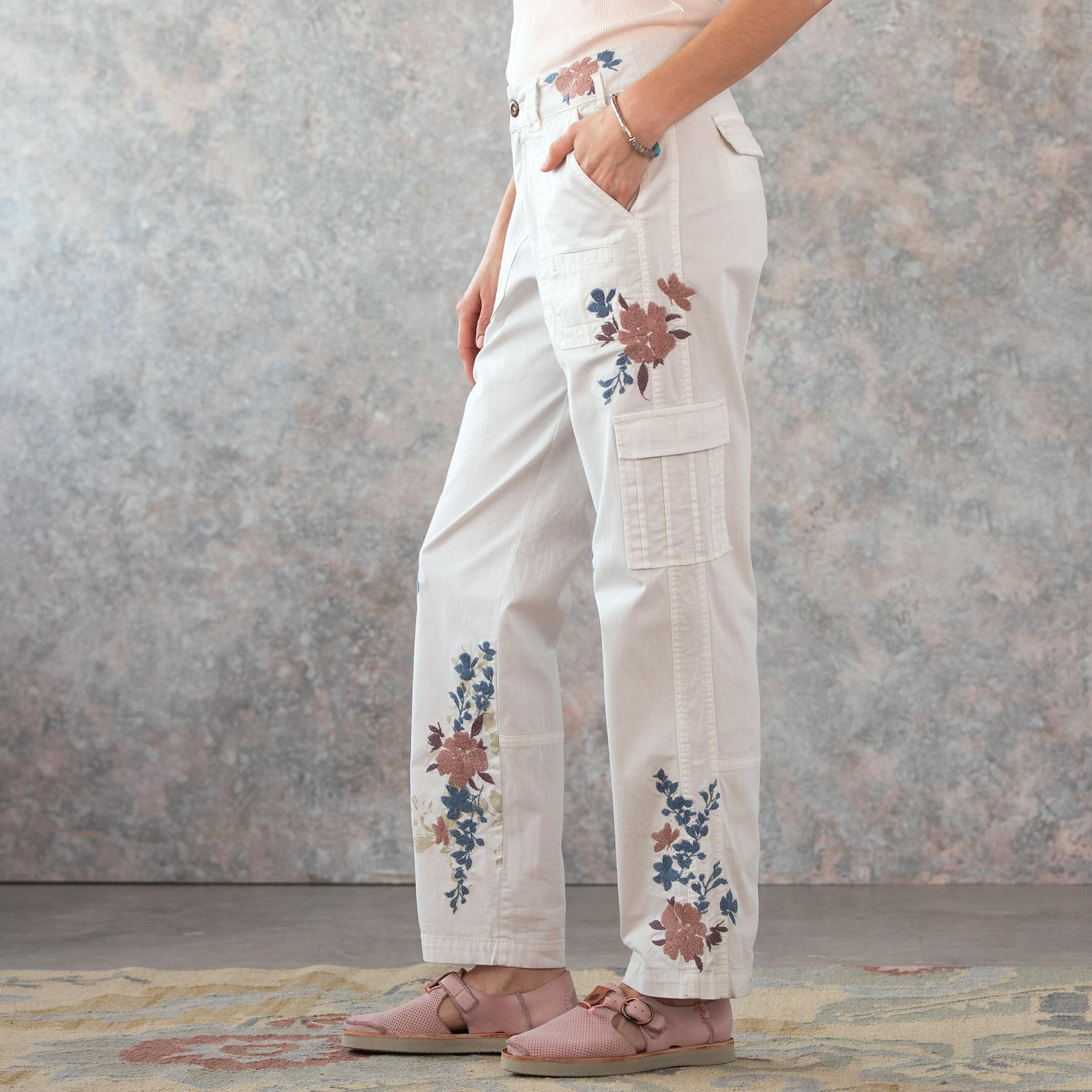 BLOOM EMBROIDERED CARGO PANTS - PETITES: View 2